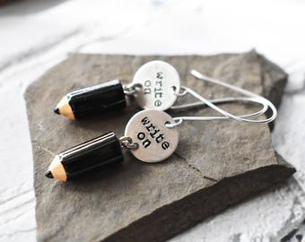 Write On Earrings- Writer Jewelry Gift- Journalist Cute Pencil Earrings - Author book Jewelry- English Teacher Gift Stamped Earrings