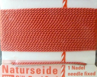 Coral Silk Beading Thread Size 4 with Needle Attached  -  Griffin Pure Silk Cord