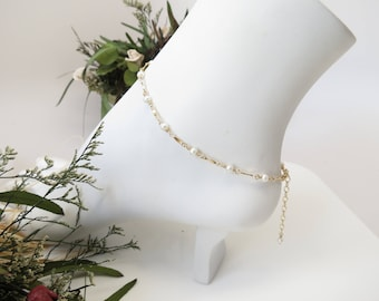 Freshwater Pearl Anklet, June Birthstone, Pearl Anklet In Gold Filled, White Pearl Anklet, Wire Wrapped Anklet, 9-10.5 Inches Length
