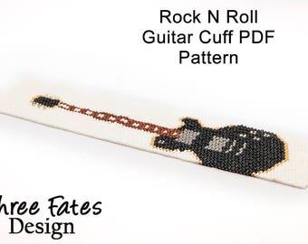 Pattern, Guitar, Rock n Roll, PDF Pattern, Seed Bead Pattern, Instant Download, Beadwork Bracelet
