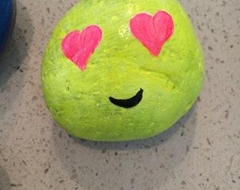 Heart Eyes Emoji Painted Rock