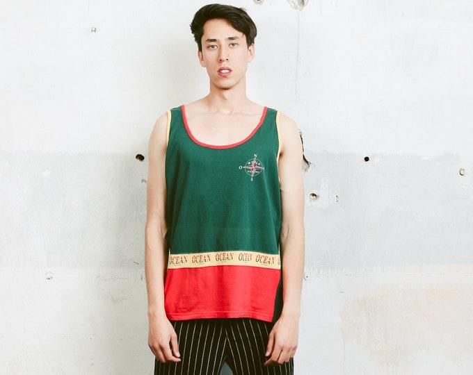 90s Men Tank Top . Mens Green Sports Vest Top Unisex Athleisure 90s Sweatshirt Boyfriend Sportswear . size Medium M