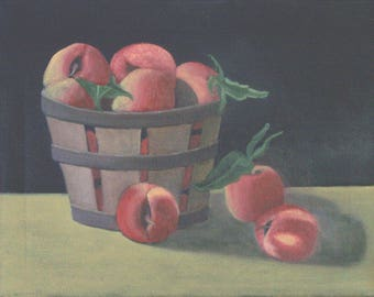 """Basket of Peaches"""",  11 x 14 inches, original oil painting on canvas"""