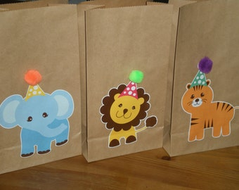 Animal Zoo Birthday Party Favor/Treat bags - Set of 10