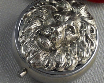 Silver Pill Box Pill Case, Vintage Gothic Inspired, Large Silver Lion Head Pill Box, Father's Day Gift