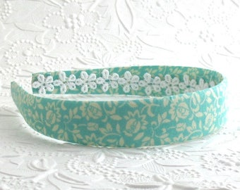 Girls Fabric Headband, Adult Headband, Womens Headband, Aqua Fabric Headband, Plast Headband, Hard Headband, Little Girls Headband