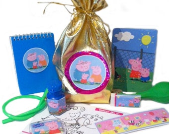 Peppa pig party bag with 9 items inside