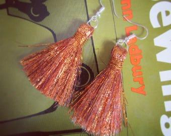 Copper Metallic Tassel Earrings