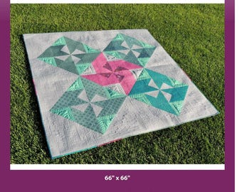 """BEANIE CAP modern quilt pattern -by Yvonne Fuchs of Quilting JetGirl Jet Girl -  lap size square quilt 66"""" x 66"""" - coloring page included"""