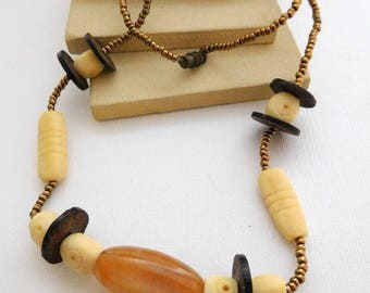 Retro Vintage Carved Bovine Bone Caramel Agate Bronze Glass Bead Necklace UU29