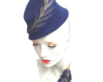 Royal blue wool felt asymmetrical vintage style toque hat fascinator embroidered races Ascot weddings elegant hat