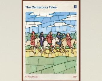 The Canterbury Tales, Chaucer; Literature Art Book Cover Poster Large, Literary Print, Bookish Gift, Book Lover Decor, Instant Download