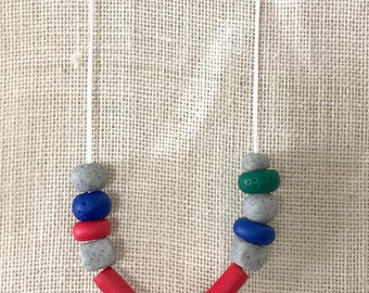 Red, grey and blue handmade polymer clay chunky necklace, 70cm polyester cord with breakaway clasp