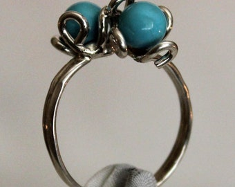 Sterling Silver .925 Two Flower Ring Turquoise. FREE SHIPPING.