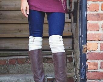 Over the Knee Socks Thigh High Skirt Socks with Wood Buttons and arrow print Coxy Cotton Lounge Socks Women's gift Idea Fashion Boot Socks