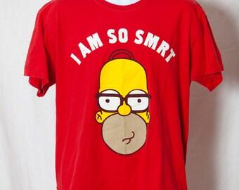 90s Homer Simpson Red Tshirt - I AM SO SMRT - L