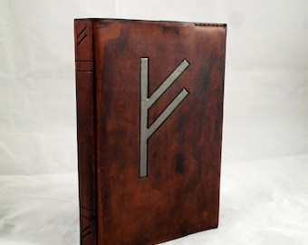 Rune Fehu leather A5 reusable notebook