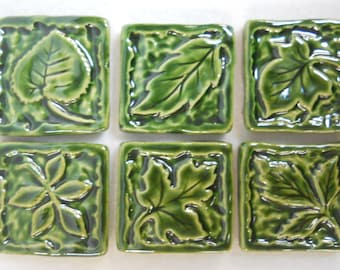 Handmade Decorative  Ceramic Tiles Leaf Patterns Stoneware - Holly Green - Mosaic Tile Pieces - Set of 6 - Craft Tiles