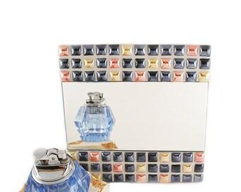 Espejo Mosaico Horizontal 20x20  Ceramic Pearl Mix Espejo Pared Espejo Sobremesa Cosmopolita Decoración Hogar Rojo Naranja Regalo Cerámica