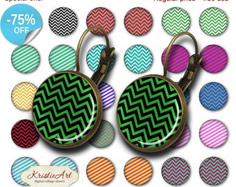 75% OFF SALE Stripes - 18mm, 16mm, 14mm, 12mm, 10mm Circles Digital Collage Sheets E-014 Printable Earring, Rings, Jewelry