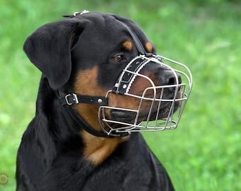 Rottweiler Dog Muzzle Wire Basket Metal Large Adjustable Leather Straps