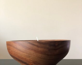 Iroko Maxi Tealight Candle Holder with Cold Copper Inlay