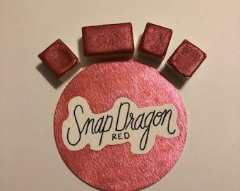 Snap Dragon Red Shimmer Mica Handmade Watercolor Paint Half Pan