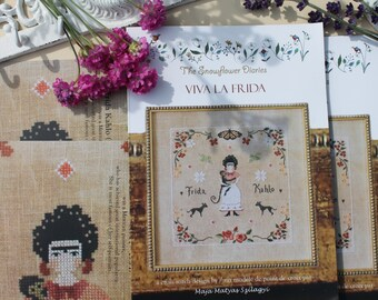 VIVA LA FRIDA - official printed cross stitch pattern, sampler, primitive, tribute, embroidery, broderie, Kahlo