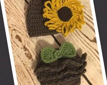 Crochet Sunflower Newborn outfit