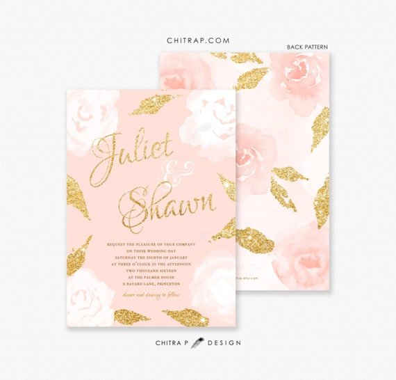 Items Similar To Blush Pink Gold Wedding Invitations