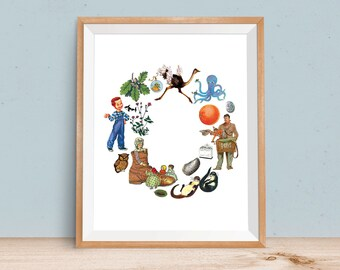 Letter O, ABC art print, Alphabet Children, Baby Printable, Digital Print, Letter Nursery Art, Monogram Art, Printable Art, Vintage Baby