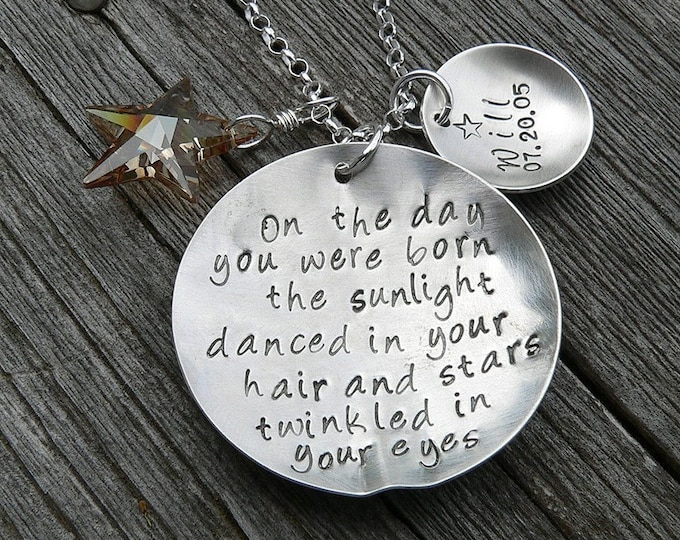 On the Day You Were Born - Custom Sterling Silver Hand Stamped Necklace - Child Name Charm - Fully Customizable - Mom Necklace