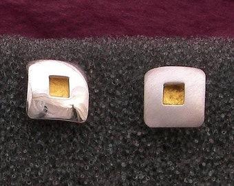 24 karat gold square with Argentium sterling silver covering square