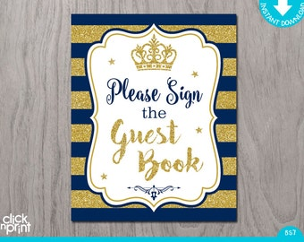 Prince guest book etsy prince baby shower navy blue gold glitter print yourself sign the guest book prince baby shower decoration solutioingenieria Choice Image