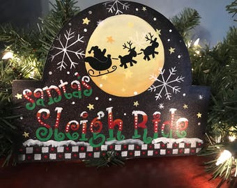 Santa's Sleigh Ride, Santa, Christmas, Holiday Decor, Sleigh, Laurie Speltz, free shipping