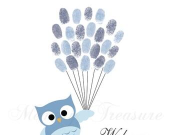 Baby Shower Guest Book Alternative Owl Thumbprint Guestbook Owl Fingerprint Guestbook Owl Baby Shower Thumbprint Owl Children Kids Birthday