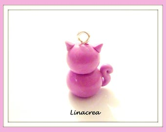 Polymer clay 20 mm x 18 mm pink cat pendant charm