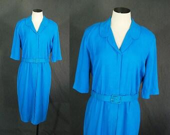 Clearance SALE vintage 50s Wiggle Dress - 1950s Blue Linen Button Front Day Dress Sz L