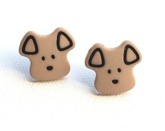 Puppy Dog Earrings, Puppy Dog Studs, Puppy Face Studs, Cute Dog Face Studs, Dog Lover's Gift, Novelty, Cute, Kawaii