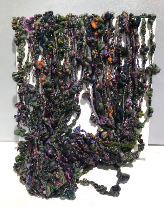 super bulky BOUCLE art yarn, Bumpy! Bulky! Fun! Handspun, Hunter Green Olive Teal Purple, with pops of color, Saori Weaving, boucle yarn