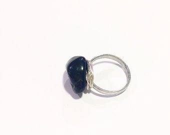 Handmade black tourmaline ring