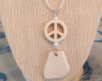 Embellished White Sea Glass Pottery Necklace