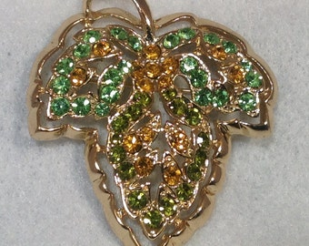 Yellow and Green Leaf Brooch