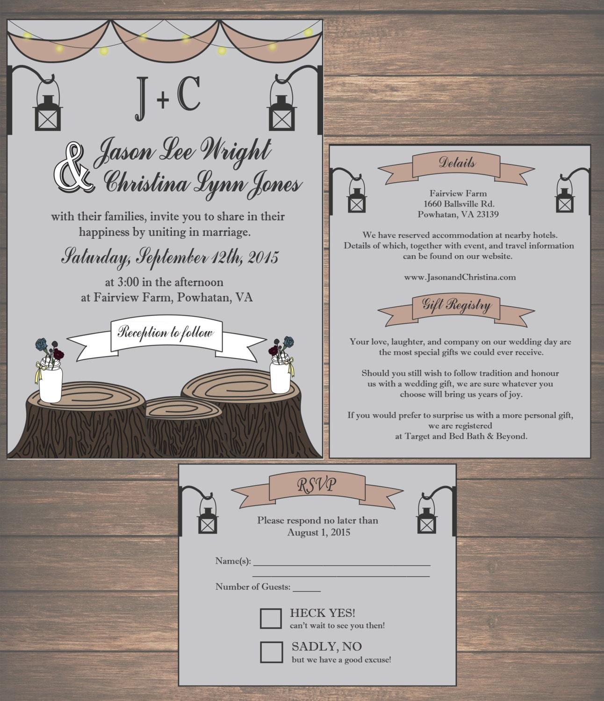 Cheap Rustic Wedding Invitation Kits: Printable Rustic Wedding Invitation Kit Invitation Details