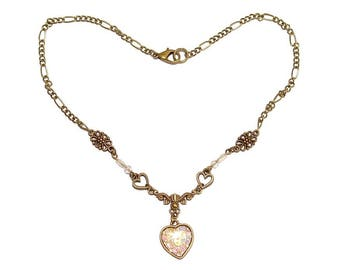 BABYDOLL NECKLACE short bronze dainty fantasy jewelry Mermaid iridescent heart shape love valentines bronze lolita cute crystal cabochon