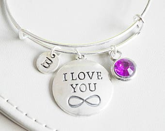 Infinity bangle, Infinity Charm Gift, I love you bracelet, Gift for her, Gift for lover, Gift for girl friend, Infinity Sign Gift,Charm gift