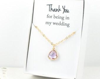 Lavender Gold Necklace, Bridesmaid Lavender Necklace, Purple and Gold Necklace, Purple Wedding Accessory, Lavender Bridesmaid Jewelry