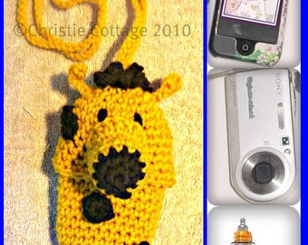 Giraffe Cell Phone, Camera, Bottle Pouch , Crochet Pattern, PDF Not a finished product.(Cozie,case,holder)