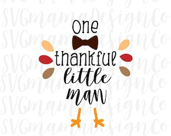 Thankful Little Man Boy Thanksgiving Iron On SVG Cut File for Cricut and Silhouette
