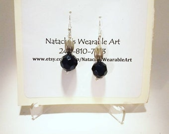 "Small Black and Silver Beaded Earrings with Stainless steel Ear Hook/ Earrings Hang 2"" Long"